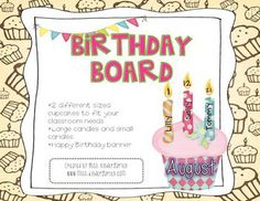 Need a new birthday board for your classroom or office? Print the monthly cupcakes and DIY your own board! Add candles for each students that month! #happybirthday