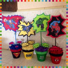Superhero centerpieces Superheroes party ideas - Visit to grab an amazing super hero shirt now on sale! Avengers Birthday, Batman Birthday, Superhero Birthday Party, 6th Birthday Parties, Third Birthday, Boy Birthday, Super Hero Birthday, Birthday Ideas, Marvel Baby Shower