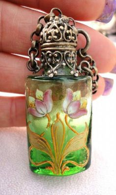 UNIQUE-VICTORIAN-ERA-BOHEMIAN-MOSER-ENAMEL-GLASS-PERFUM-BOTTLE-CHATELAINE