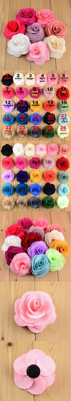 3.5 inch 26Colors Fabric Flowers Flat Back DIY Flower For Brooch Baby Headband Hair Clips 100pcs/lot