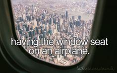 having the window seat on an airplane