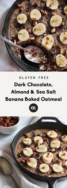 Amazing banana baked oatmeal with chocolate, almonds, cinnamon