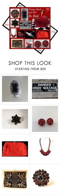 """Red and Black: Vintage"" by muskrosevintage ❤ liked on Polyvore featuring WALL, Magid and vintage"
