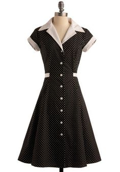 Comedy Hour Dress (aka Diner Dress in Black Dot) by Heartbreaker Fashion - very vintage. Should I be looking for my bongos? #black #white #polkadot #retro #vintage