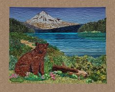 Landscape quilt by by Donna Cherry;  She teaches a method that offers an innovative approach to assembling a landscape quilt: a mix-and-match assortment of backgrounds, mid-grounds, foreground, and detail addition, so that you can create a very custom-looking design.