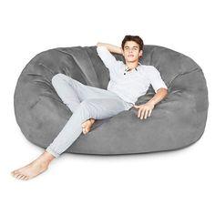 Lumaland Luxury Bean Bag Chair with Microsuede Cover Dark Grey e7fdf1576619a