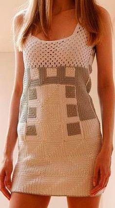 crochelinhasagulhas: Vestido bicolor em crochê
