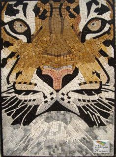AN025 Marble Mosaic Wild Tiger Tile