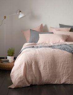 Blush Pink 100% Linen Bedding Set