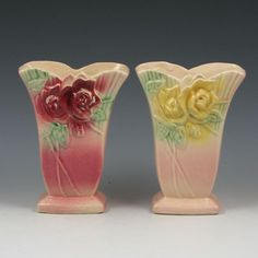 McCoy Wild Rose floral vases with unusual glazes and color