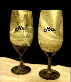 Check out this item in my Etsy shop https://www.etsy.com/listing/510673687/personalized-wine-glassmr-mrs-wine