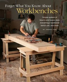 This innovative workbench from FWW in 2009 is worth another look. It is simply two long boxes and two sawhorses, but it can do everything the fanciest Scandinavian bench can do, plus it stacks and stores in a corner of your shop.