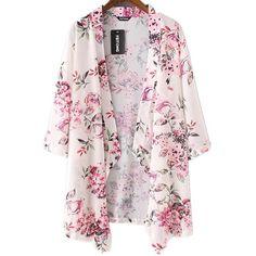 Siniao Women Lady Boho Print Chiffon Loose Shawl Kimono Cardigan Top... ($8.99) ❤ liked on Polyvore featuring tops, blouses, pink chiffon blouse, boho tops, kimono blouse, pattern blouse and pink top
