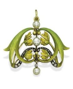 AN ANTIQUE ENAMEL, PEARL AND DIAMOND BROOCH/PENDANT, BY BOLIN  circa 1900 by albine