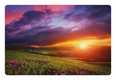 Landscape Pet Mats for Food and Water by Lunarable, Mountain with Pink Rhododendron Flowers Sunset Sky Over Carpathian Hills Picture, Rectangle Non-Slip Rubber Mat for Dogs and Cats, Multicolor ** Click image to review more details.(It is Amazon affiliate link) #70likes