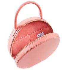 6c330390f40 Italian calf leather light pink circle bag with light pink suede interior.  Two interior pockets