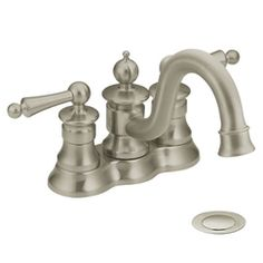 Moen Showhouse S412BN Waterhill Two Handle Lavatory Faucet With Drain Assembly, Brushed Nickel at PlumberSurplus.com