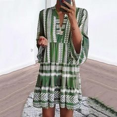 Bohemian V Neck Printing Casual Dresses – dresshelike Types Of Sleeves, Dresses With Sleeves, Sleeve Dresses, Casual Dresses, Summer Dresses, Mini Dresses, Shift Dresses, Vacation Dresses, Flower Dresses