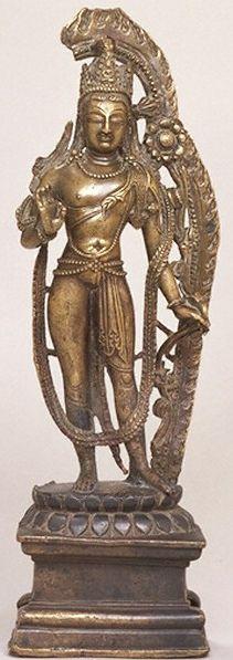 10th century, Kashmir, bodhisattva Avalokiteshvara in his Padmapani form, bronze with copper inlay, at the Victoria&Albert Museum (London).
