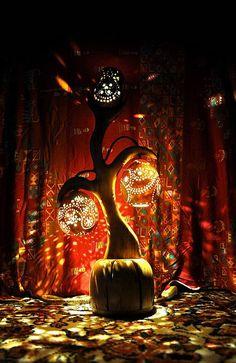 Albero con tre regalo  lampada di Wood Handcrafted luce
