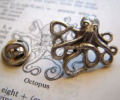 Octopus Tie Tack Lapel Pin Silver Plated Gothic by CosmicFirefly, $14.99