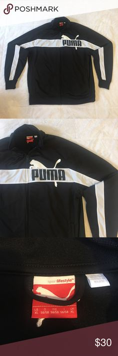 Puma Full Zip Track Jacket Black & White Size XL Puma Full Zip Track Jacket. Black With White Stripe. Huge Logo. Size XL Extra Large. Lightly Worn. In Great Pre Owned Condition. Puma Jackets & Coats