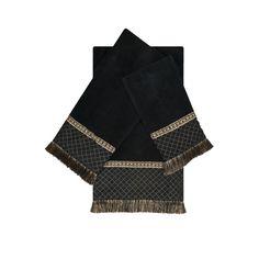 austin horn classics arcadia black 3 piece decorative embellished towel set - Decorative Towels