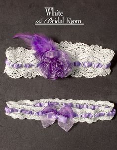 Purple Flower with Feather White Lace Bridal by theWhiteBridalRoom £21.18 #handmade #wedding