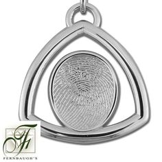 Sterling Silver Triangle, or 14K White Gold - 17mm Fingerprint - (Sterling Silver includes chain, 14K White gold does not include chain) $249.99 Fingerprint Jewelry, Triangle, White Gold, Sterling Silver, Chain, Prints, Printmaking, Chain Drive