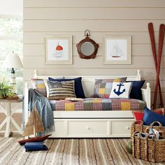 Get inspired with coastal room ideas and photos for your home refresh or remodel. Wayfair offers thousands of design ideas for every room in every style. Nautical Bathroom Design Ideas, Nautical Wall Decor, Nautical Home, Unfinished Wood Furniture, French Country Bedding, Wicker Table, Table Lamp, Upholstered Platform Bed, Bedroom Themes
