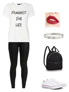 """""""Travel Outfit💋"""" by miwa-fukuta on Polyvore featuring Dorothy Perkins, Converse, Cartier and Jouer"""