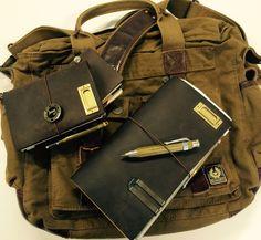 Midori Traveler's Notebook Belstaff Messenger Bag Kaweco pencil