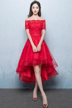 8a2a12d10a8 A-Line Off Shoulder Long Tail Homecoming Dress With Appliques TZ0073