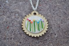 Rainbow Flowers Hand Embroidered Necklace Mini Embroidery Hoop Pendant Jewelry Wood Scalloped Circle by HedgeByLexy on Etsy