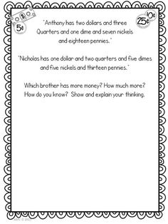 Looking From Third to Fourth: Math Mentor Text - Alexander, Who Used To Be Rich Last Sunday, Freebie! Money Activities, Sunday Activities, Teaching Activities, Math Resources, Teaching Ideas, Daily 3 Math, Math 2, Money Change, Show Me The Money