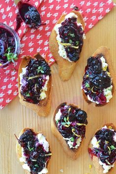 Blueberry Chutney + Ricotta Crostini