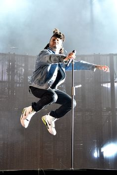 The Weeknd wearing Levi's The Trucker Jacket , Nike Force Command Sneaker