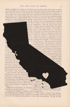 dictionary art vintage my heart is in southern CALIFORNIA State print