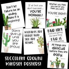Growth Mindset – Cactus – Succulents – Classroom Decor - All About 5th Grade Classroom, Classroom Posters, Classroom Setup, Classroom Design, Future Classroom, School Classroom, Classroom Organization, Calm Classroom, Decoration Cactus