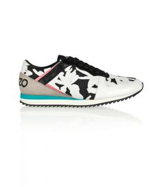 Kenzo Palm tree leather and canvas sneaker