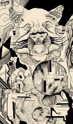 EVO - Imarginal x Sang #dotwork #nankin #art #surrealism #posca #blackwork #ttt #imarginal #sang #aeo #illustration #duo #stadler #linework #lines #black #space #scifi #fiction #sun #spaceship #bear  #mandril #minerals #geometry #biology #future