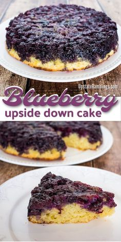 Upside Down Cake - This blueberry dessert is an easy cake to make and is covered with caramelized blueberries.Blueberry Upside Down Cake - This blueberry dessert is an easy cake to make and is covered with caramelized blueberries. Spring Desserts, Just Desserts, Delicious Desserts, Party Desserts, Health Desserts, Blueberry Upside Down Cake, Blueberry Cake, Easy Blueberry Desserts, Blueberry Custard Pie