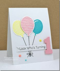 Party Balloons MFT July Teaser Day Six First Birthday Cards Bday