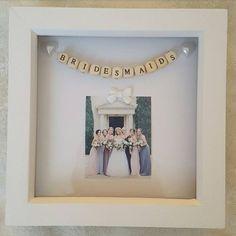 Wedding Box Frame Bridesmaids by PreciousPicsCo on Etsy Cheap Wedding Gifts, Homemade Wedding Gifts, Wedding Crafts, Scrabble Wall Art, Scrabble Frame, Wedding Boxes, Wedding Ideas, Wedding Planning, Personalised Frames