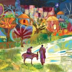 """Journey to Bethlehem by Mike Torevell. Church or School Banner 36"""" x 36"""" / 91 x 91cm. Order ref: BAN900 £130.00. Also available as a Foamex board size 24"""" x 24"""" / 61 x 61cm. Order ref: FMMT01 / £62.95. Or order as part of a three banner frieze BAN908 £395 + VAT = £474.00 or Foamex board set FMMT09 £175.00 + VAT = £210.00"""