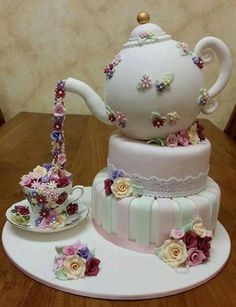 Tea Party Cake by The Fairy Cake Mother, Elizabeth, South Australia. Gorgeous Cakes, Pretty Cakes, Amazing Cakes, Fondant Cakes, Cupcake Cakes, Cake Icing, Teapot Cake, Bridal Shower Cakes, Novelty Cakes