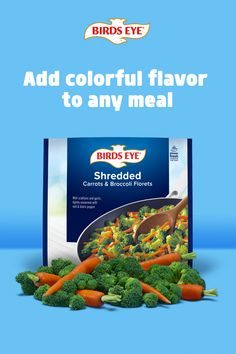 Add delicious variety to your next recipe with pre-prepped Birds Eye Shredded veggies. Shredded Potatoes, Shredded Carrot, Broccoli Cauliflower, Broccoli Florets, Mixed Vegetables, Veggies, Homemade Mashed Potatoes, Lentil Curry, Dried Cherries
