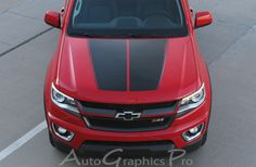 """2016-2017 Chevy Colorado """"SUMMIT"""" Split Hood Factory OEM Style Truck Racing Stripe Vinyl Graphics Stripes Kit Vinyl Graphic Stripe Decal Kits Vehicle Specific Accent Striping Decals Packages 