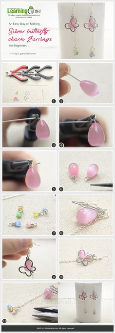 An Easy Way on Making Silver butterfly charm Earrings for Beginners