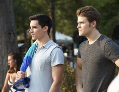 "The Vampire Diaries -- ""Welcome to Paradise"" -- Image Number: VD603a_0224.jpg -- Pictured (L-R): Marco James as Liam and Paul Wesley as Stefan -- Photo: Bob Mahoney/The CW -- © 2014 The CW Network, LLC. All rights reserved."